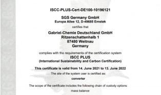 ISCC+ Zertifizierung für Gabriel-Chemie Deutschland