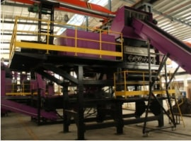 Tire recycling line