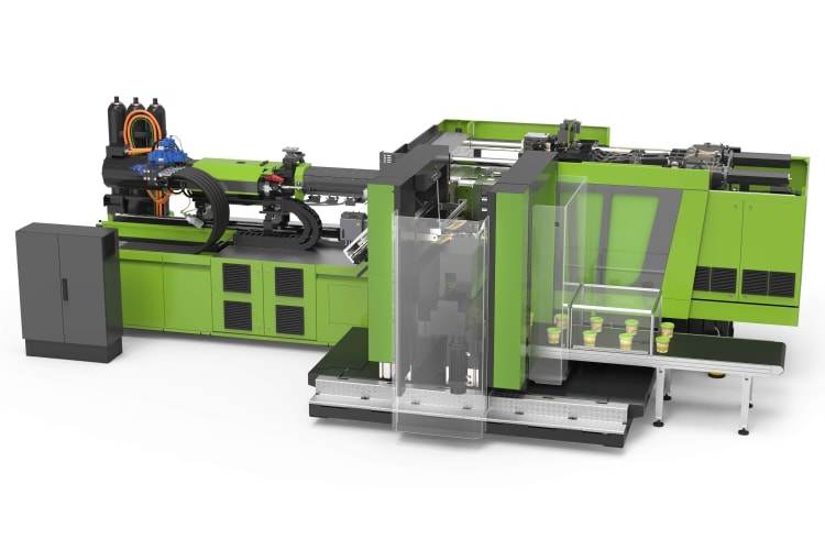 The new e-speed 280 will produce 1-litre round containers in thin-wall technology at ENGEL live e-xperience. The production cell is equipped with an IML solution.