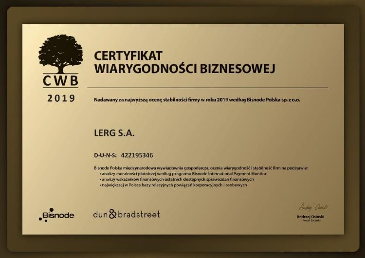 Certyfikat Wiarygodności Biznesowej dla firmy Lerg