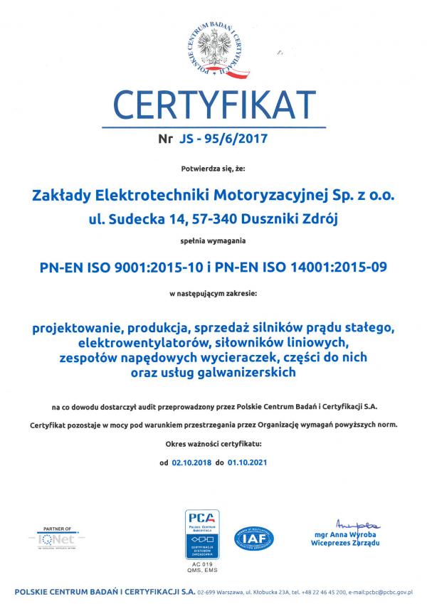 ISO 9001:2015-10 i ISO 14001:2015-09