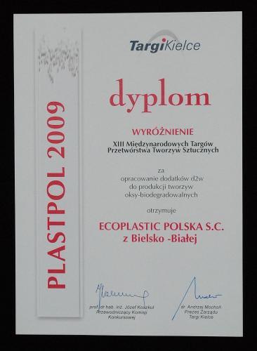 Dyplom targów Plastpol dla firmy Ecoplastic Polska