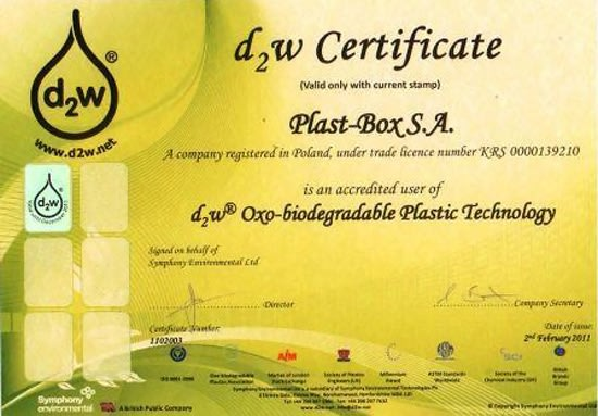 D2w technology certificate for Plast-Box products - News at