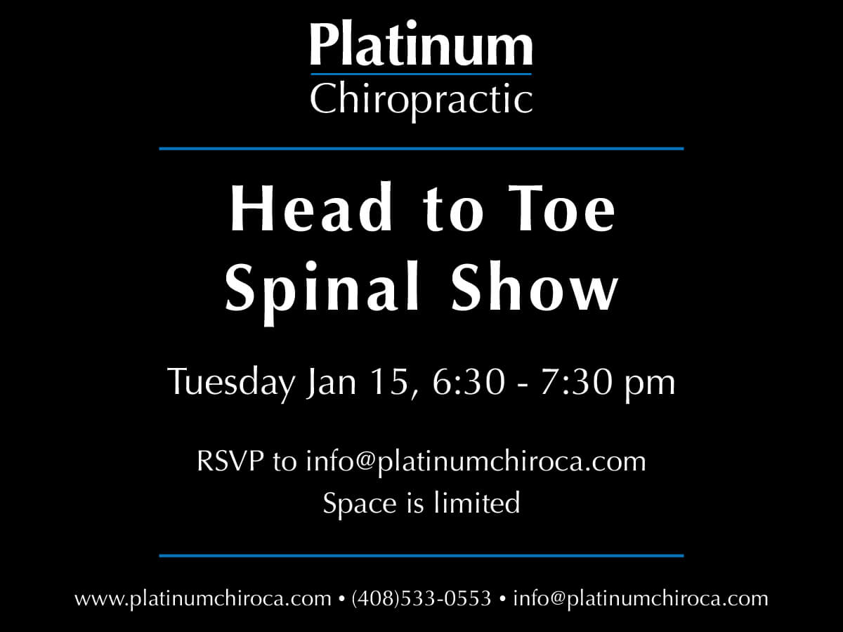 RSVP for the Head to Toe Spinal Show below.  This will be an interactive mobility class featuring exercises and movements to help you heal faster, need less care, and see better results in both the short and long term.