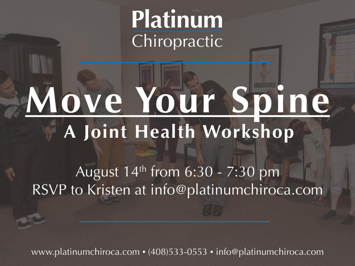 NTERESTED IN LEARNING MORE ABOUT KEEP YOUR JOINTS (AND ESPECIALLY YOUR SPINE) HEALTHY? COME TO OUR WORKSHOP ON AUGUST 14... MOVE YOUR SPINE.DR. KARO WILL BE LEADING A MOBILITY CLASS FULL STRATEGIES TO MAXIMIZE YOUR  NEURO-STRUCUTRAL CHIROPRACTIC CARE FOR BOTH THE SHORT AND LONG TERM.