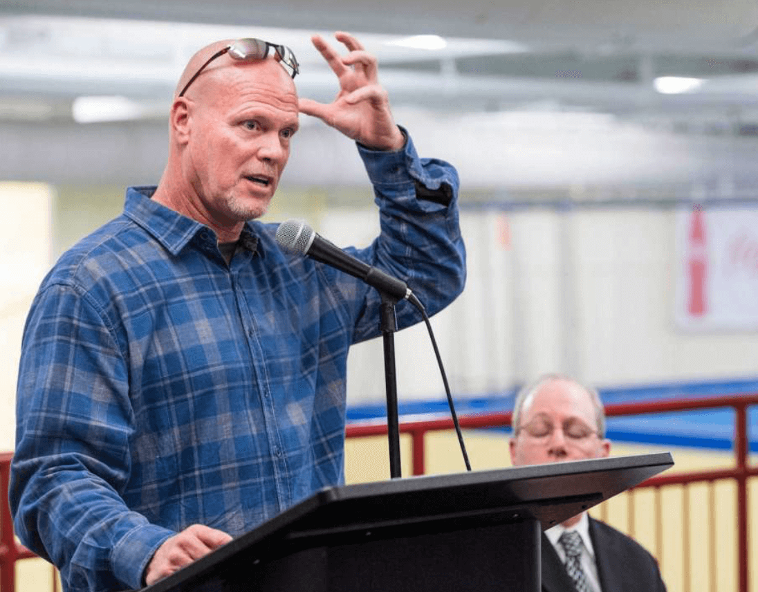 Jim McMahon, former Chicago Bears quarterback, speaks to an audience at Chelsea Piers Stamford, CT about being a patient of Dr. Scott Rosa, a cranio-cervical specialist, and Dr. Rosa's procedure on treating cranio-cervical issues. Thursday, January, 16th, 2014.Photo: Mark Conrad