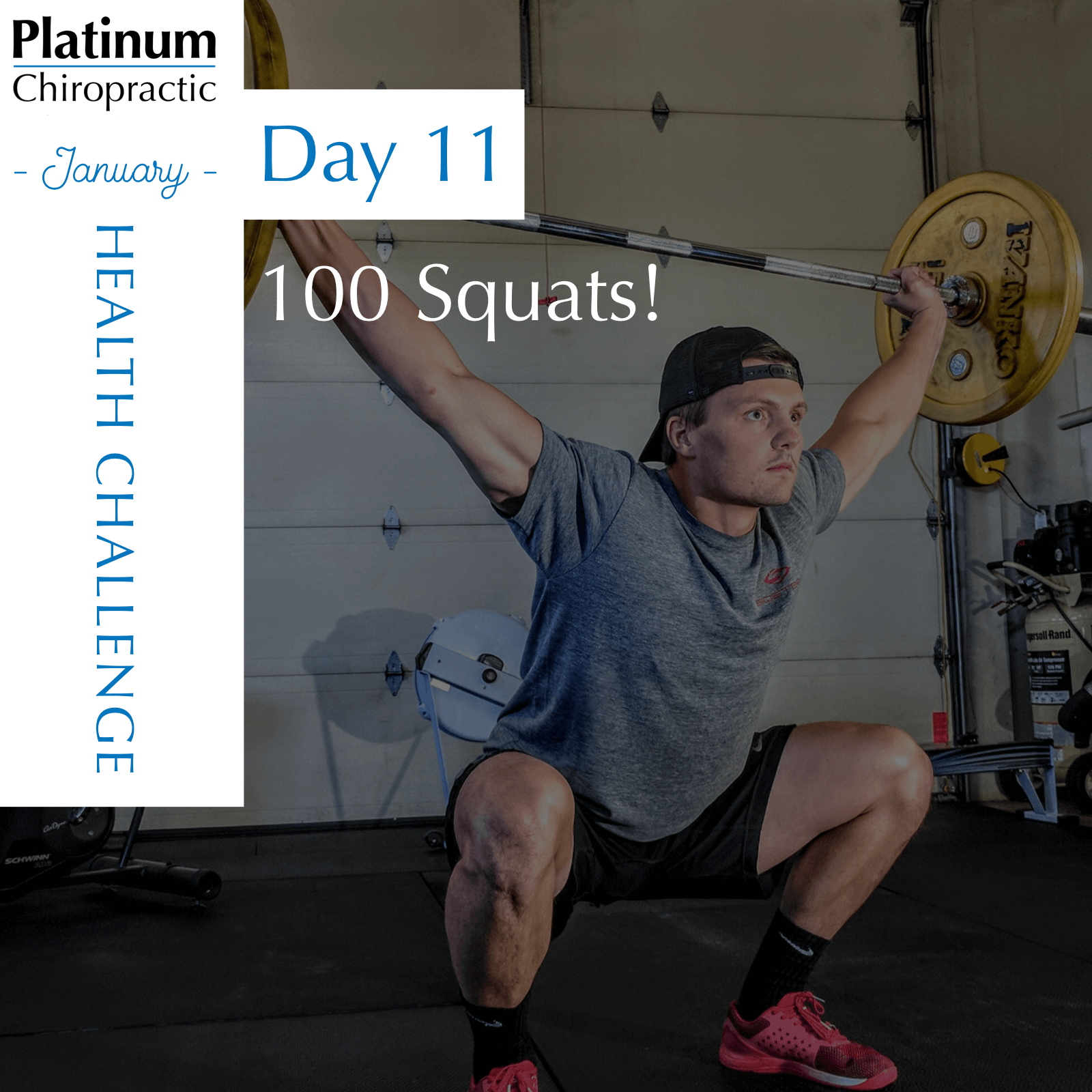 Scaling Options:  1) Accumulate 100 squats throughout the day. Feel free to add weight with a medicine ball, barbell, or stick with bodyweight.  2) Accumulate 50 squats throughout the day. Trust us, you can do it!  3) Accumulate 30 squats throughout the day. While our joints love full range of motion, if you cant go below parallel, feel free to use a target such as sitting on a chair, bench, or medicine ball.