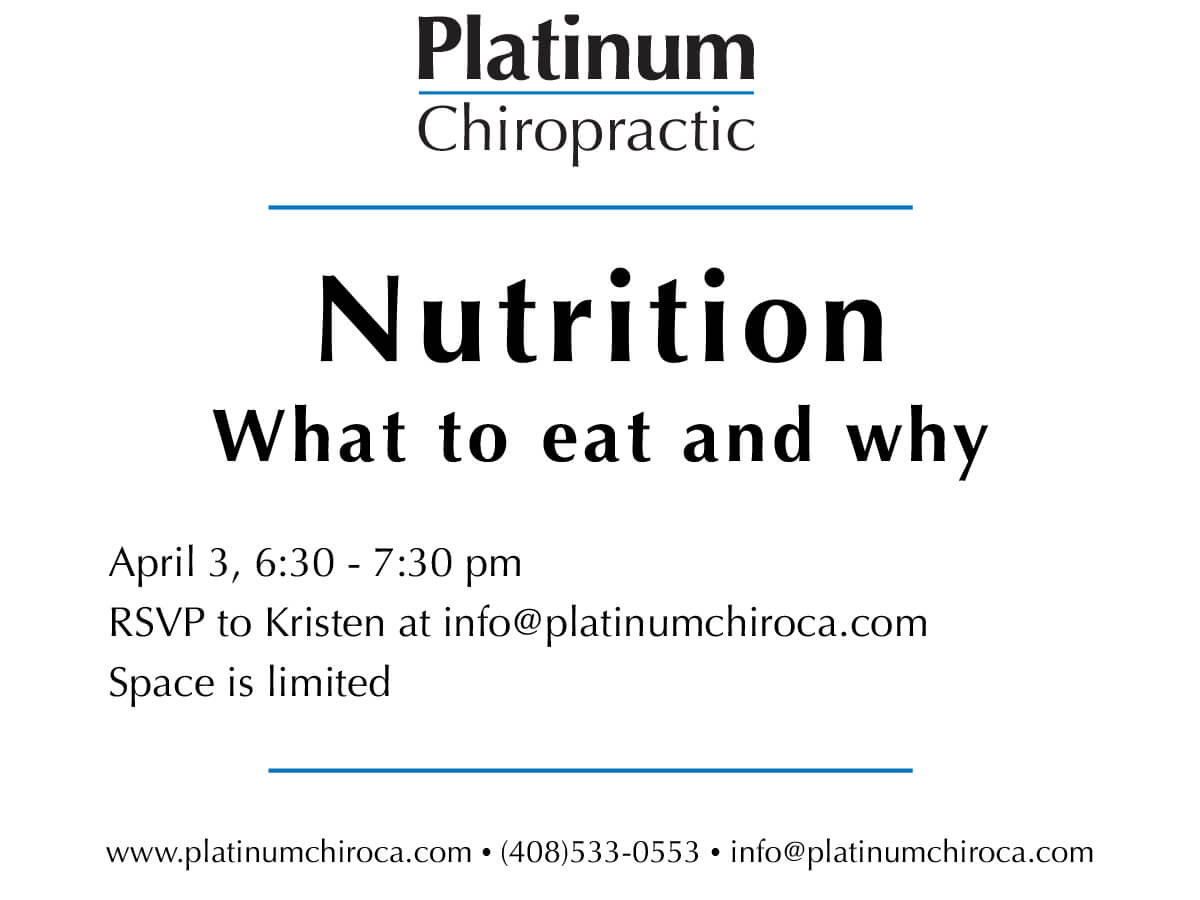 Join us on Tuesday April 3 at 6:30 for April's workshop.  + Learn the why behind what we should eat and what to avoid for lasting health + Discuss tips for better nutrition decision making + Learn the most common misconceptions that mess up your progress. Light appetizers will be provided. RSVP via the form below.