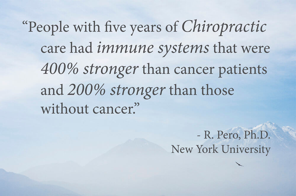"Pero concluded that ""chiropractic may optimize whatever genetic abilities you have"" so that you can fully resist serious disease. ""I'm very excited to see that without chemical intervention…this particular group of patients under chiropractic care, did show a very improved response, "" he told CBSRF. ""These changes occur from chiropractic treatment."""