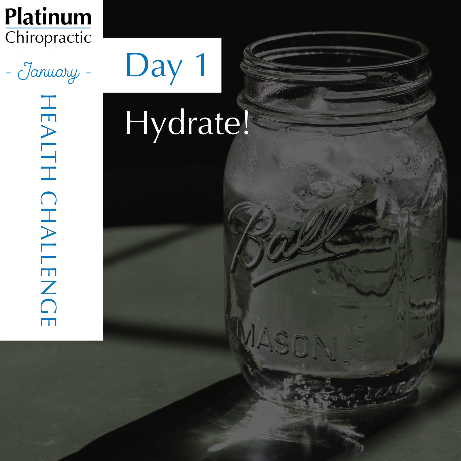 Platinum Chiropractic, Santa Clara CA,Day 1 challenge. Each day you should get half your body weight in ounces of water.