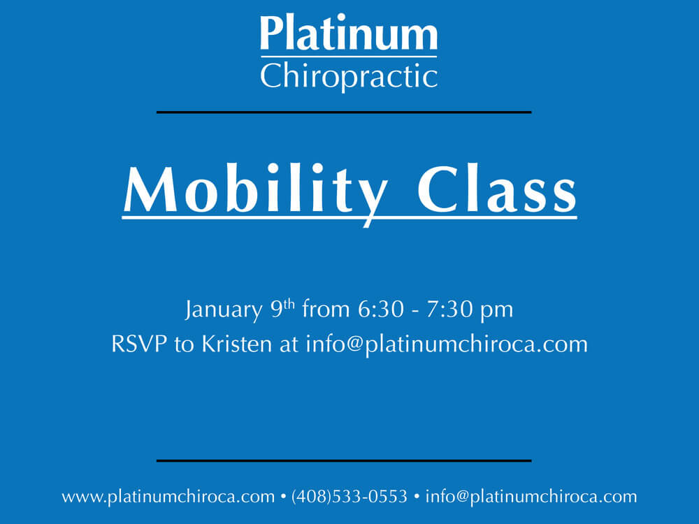 Mobility Class this Tuesday January 9th at our Santa Clara practice location.
