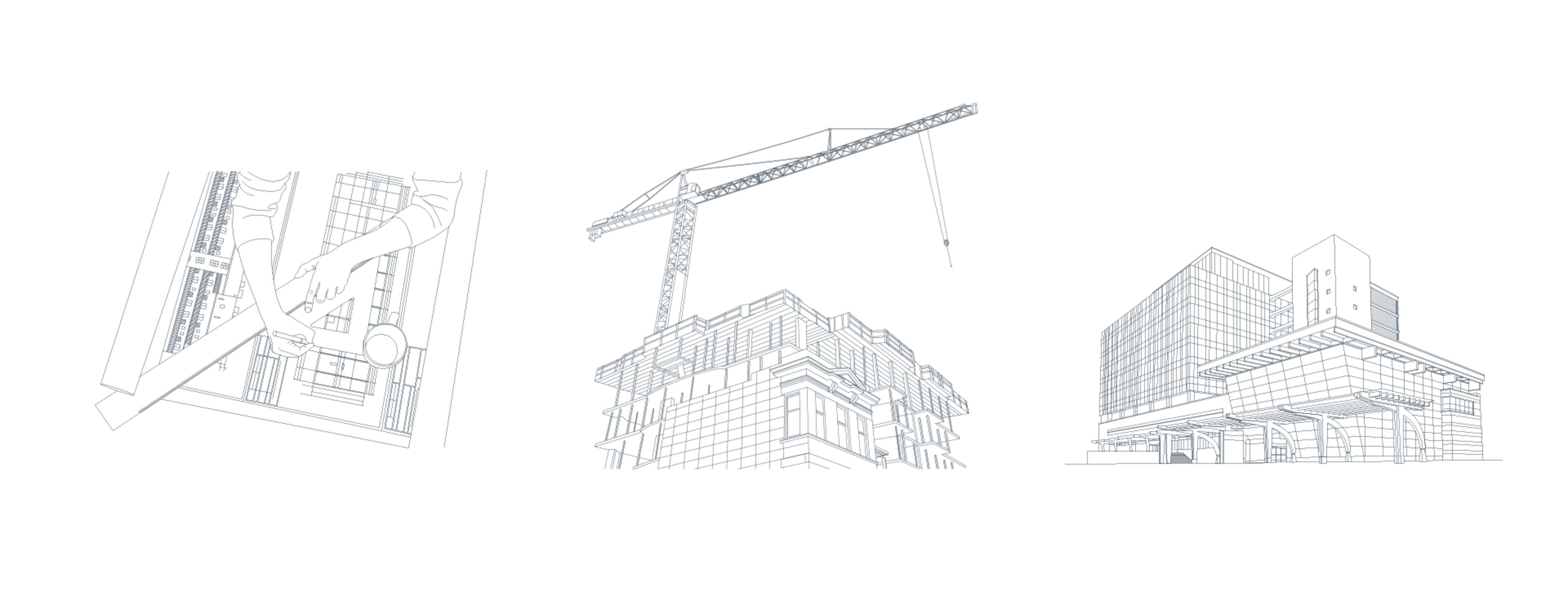 three illustrations. The first speaks to pre-construction and planning. Showing a person drawing a blueprint. The second speaks to construction. there is a building in progress with a crane. The third represents post-construction followed by an Illustration of a completed building.