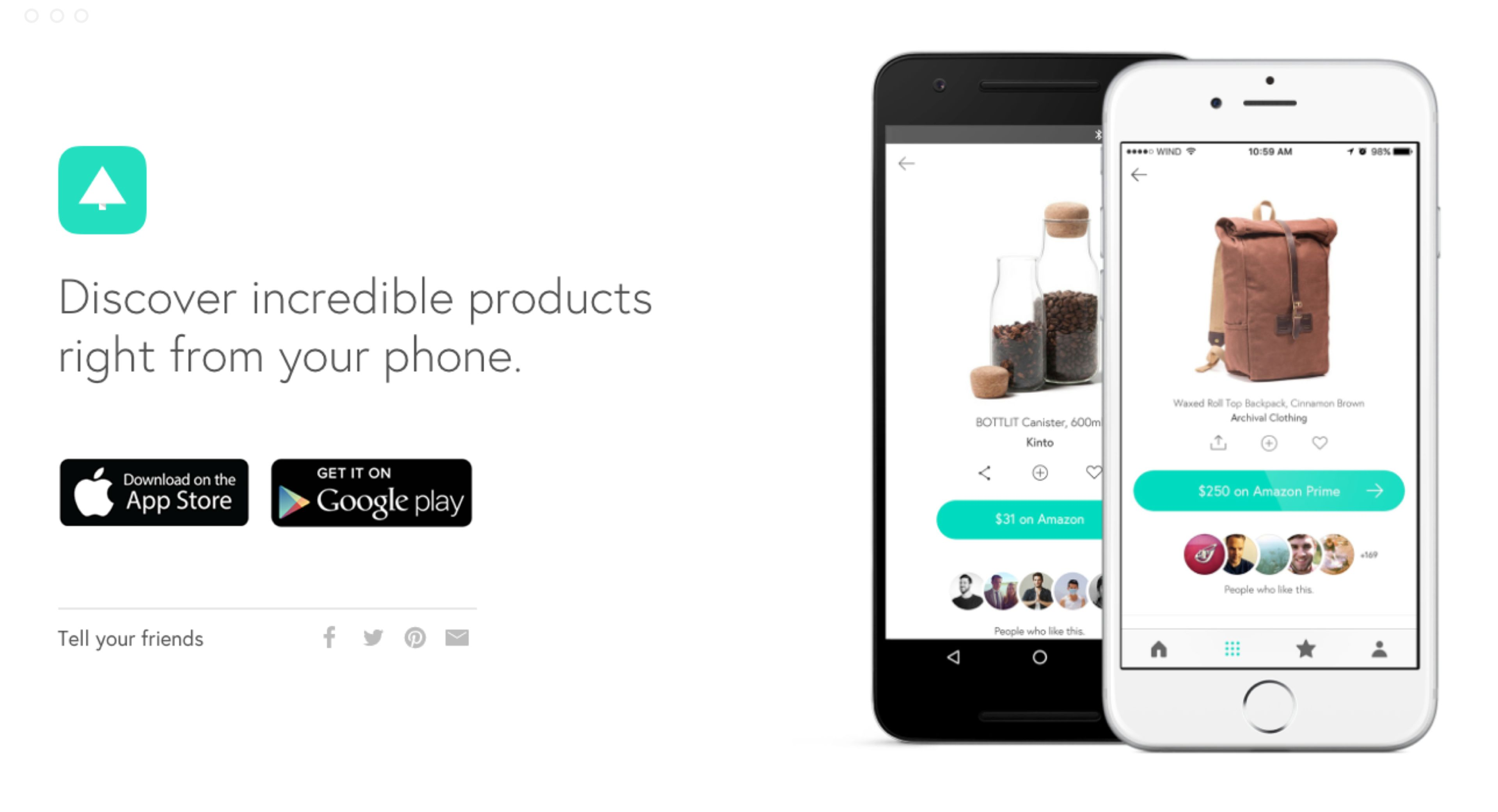 A callout to download the Canopy app in the Android + iOS app stores. There's a brand tagline with some images of iPhones open on the Canopy product page.