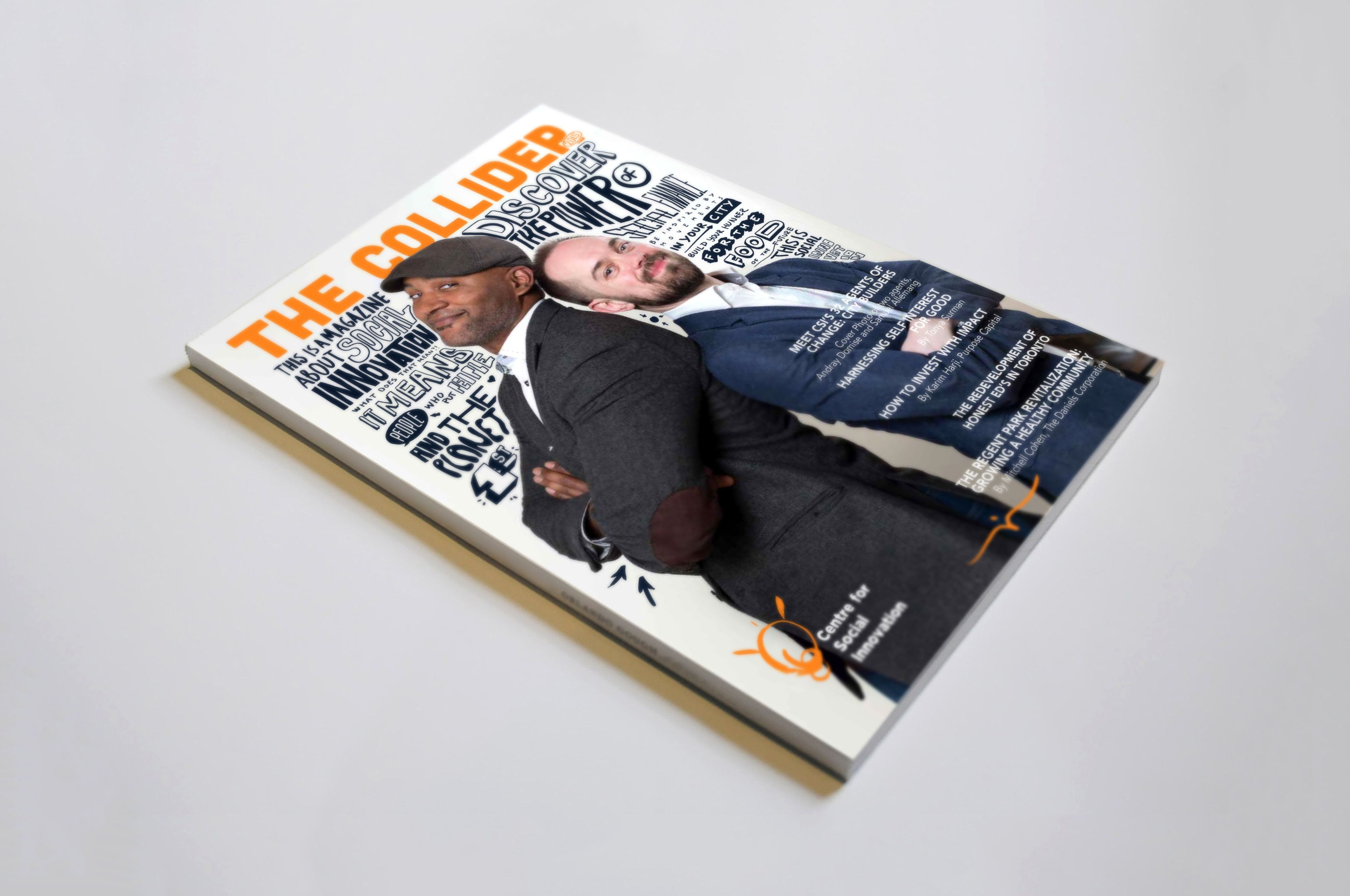 The Collider magazine is an internal publication by the CSI. The cover has two men back to back with illustrative text on-top