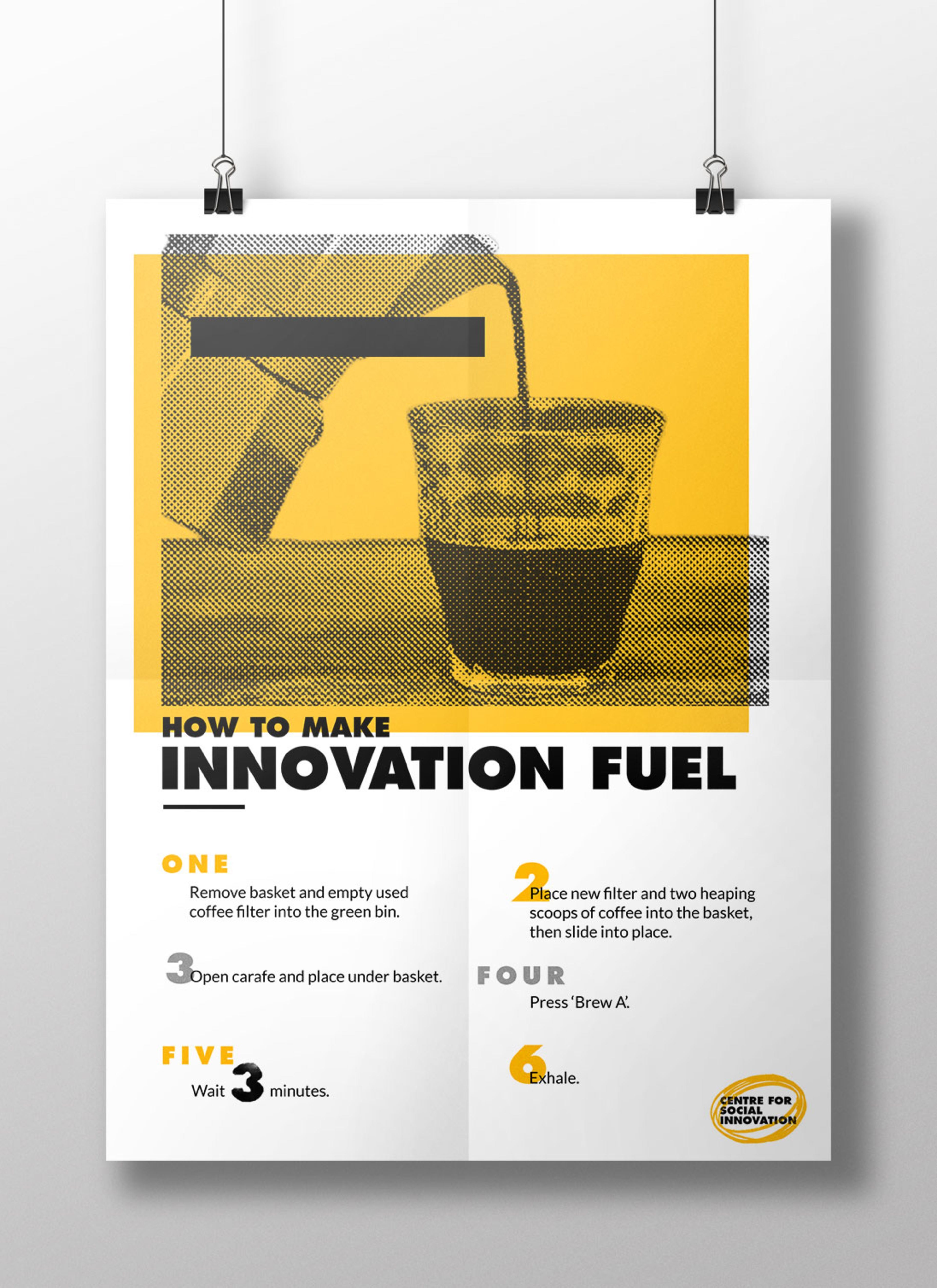 Poster for internal use only. About how to make coffee in the kitchens of CSI