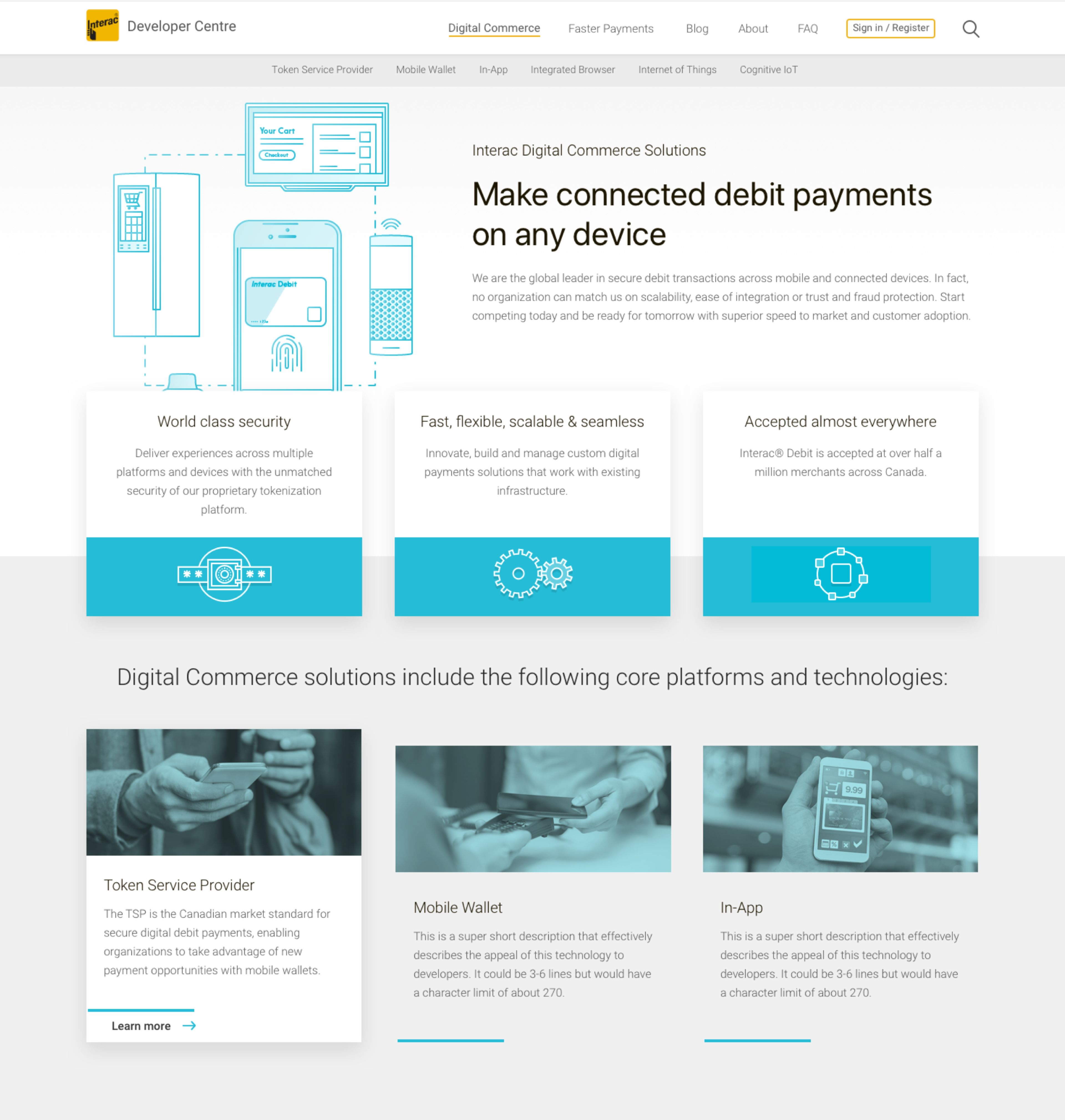 layout of the Interac developer centre on desktop. illustration in the header of the internet of things