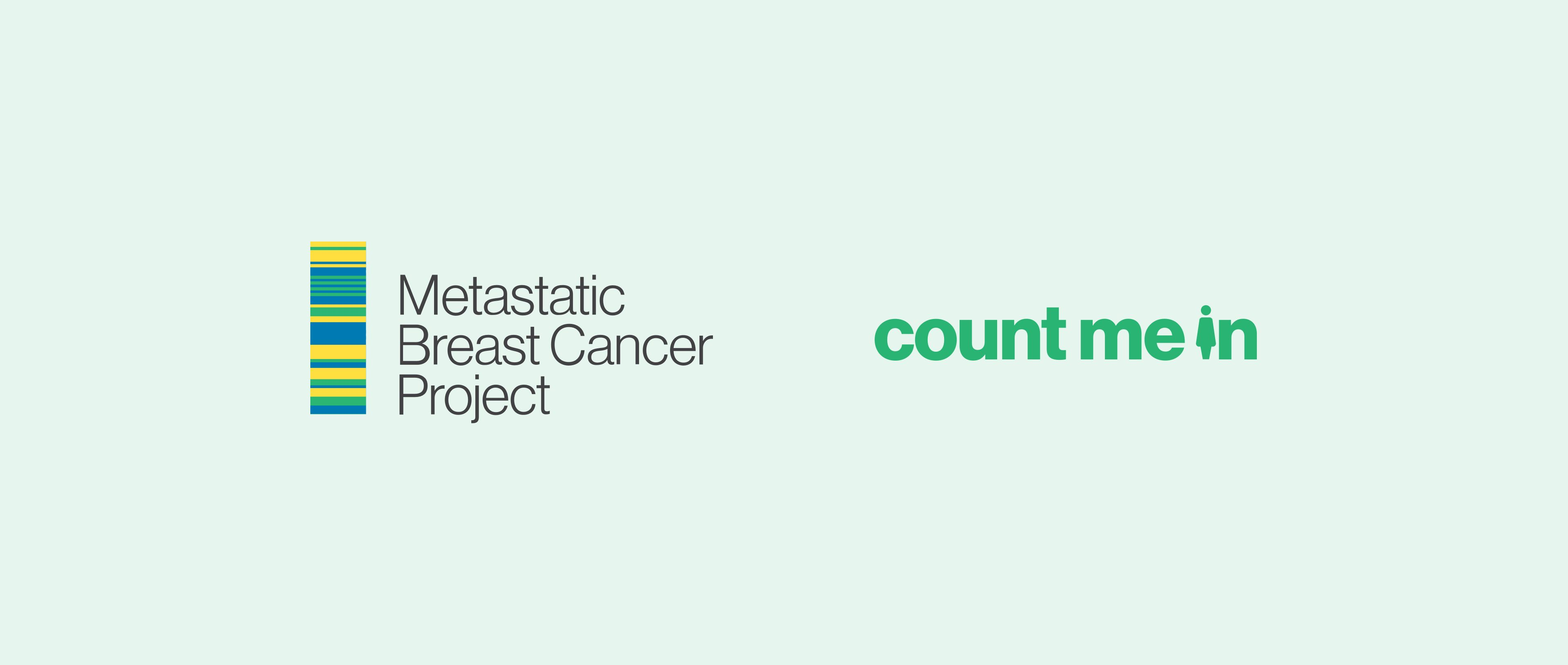 Two logos, first logo is the metastatic breast cancer project logo. The colourful, stacked column in the logo is a visualization of the DNA sequencing used to discover anomalies in patients. The second is Count me In.