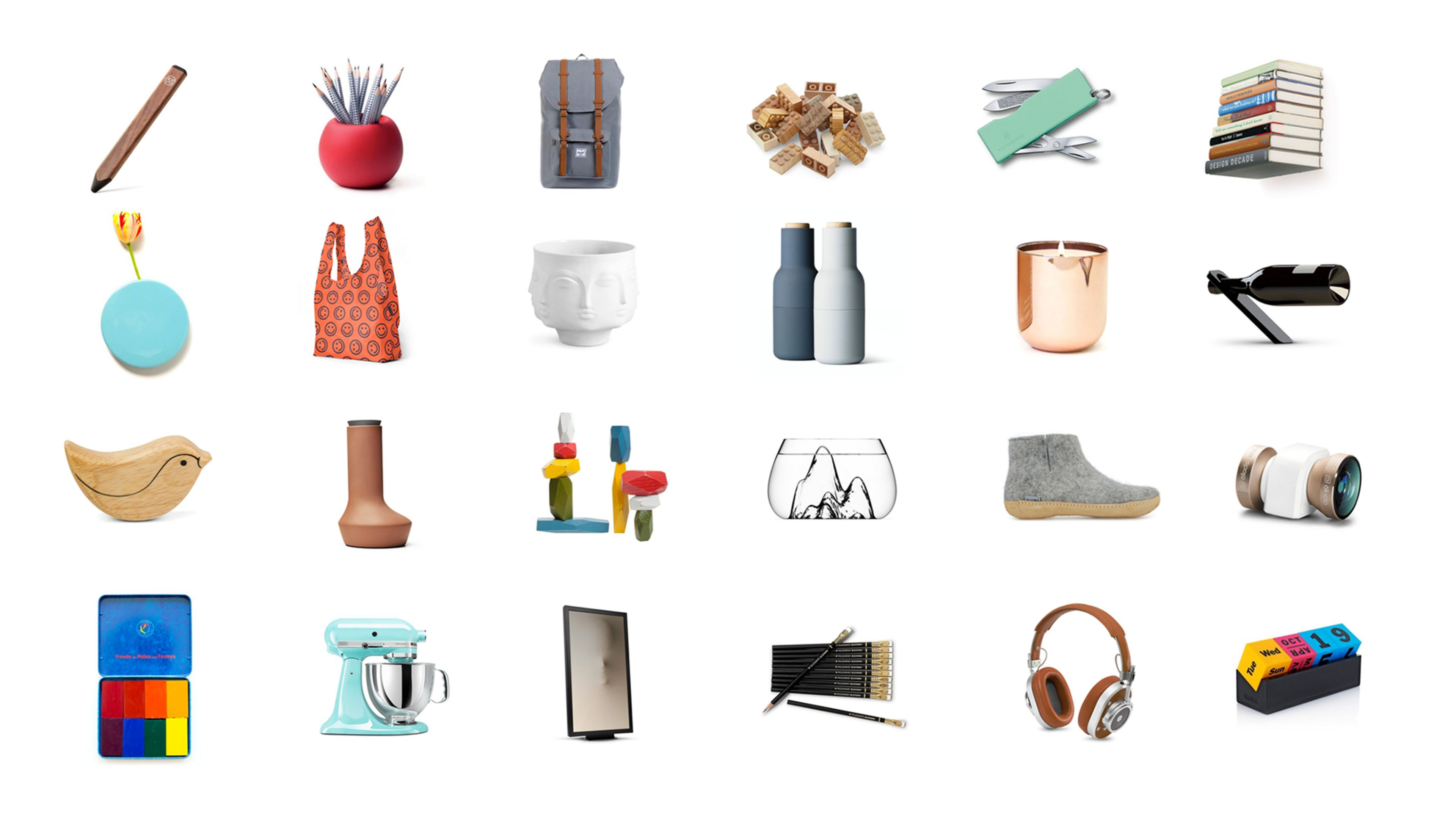 A grid of Canopy's most popular products on clean white space. There's a good variety between inexpensive/expensive + electronics and physical object.
