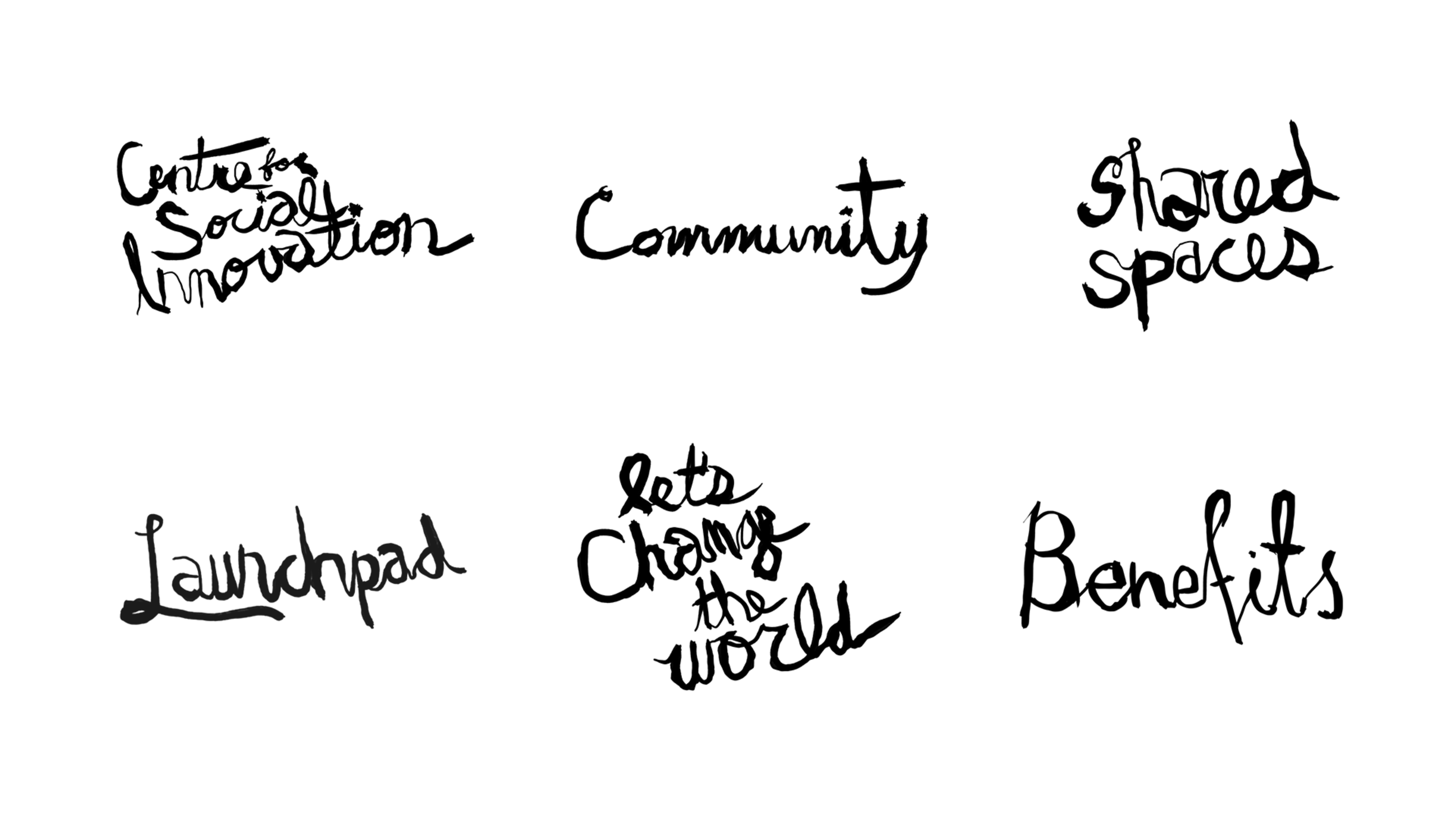 Handwritten titles that were used on the CSI website.