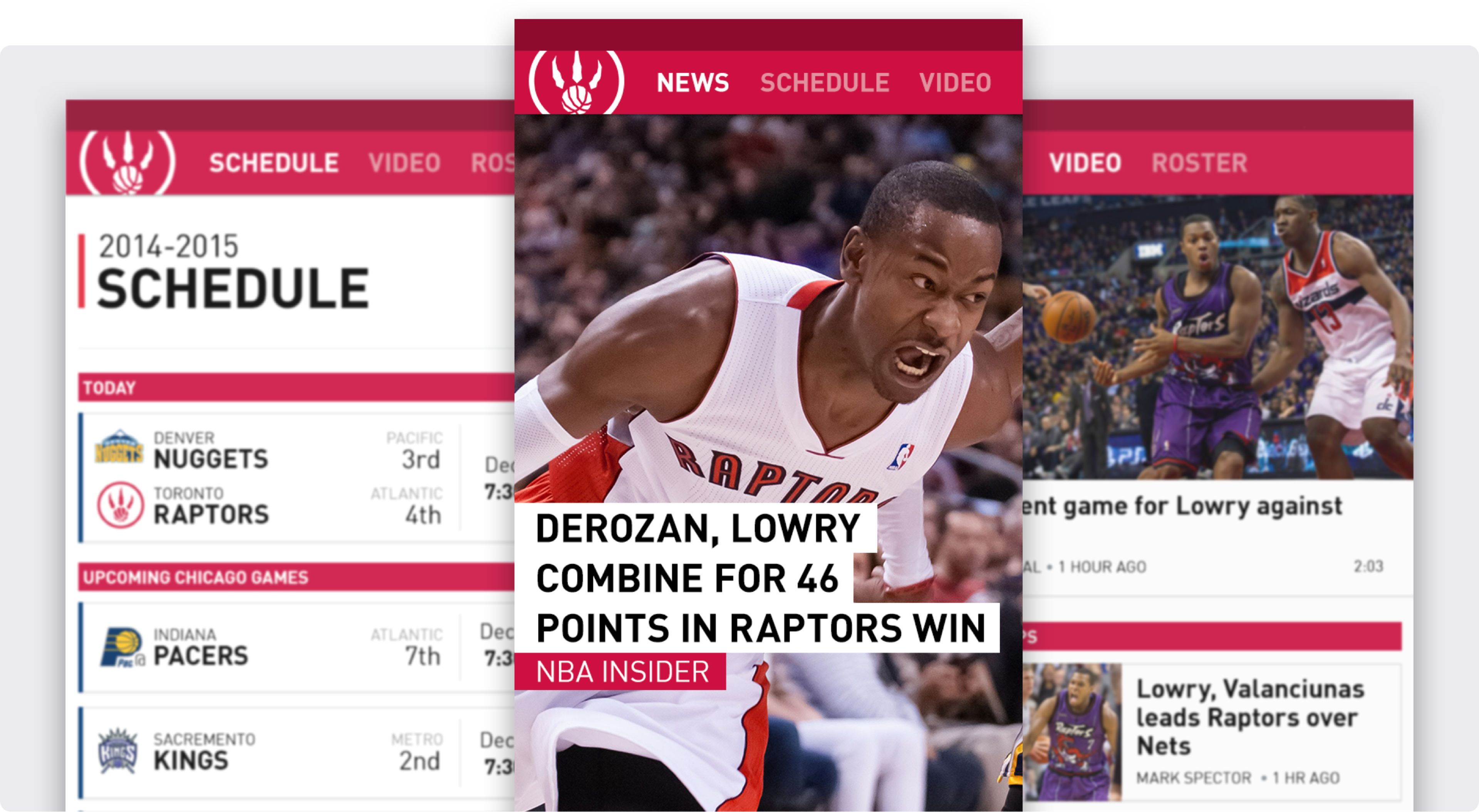 3 screens from the Sportsnet application in the Toronto Raptors section. Highlights, schedule and news.