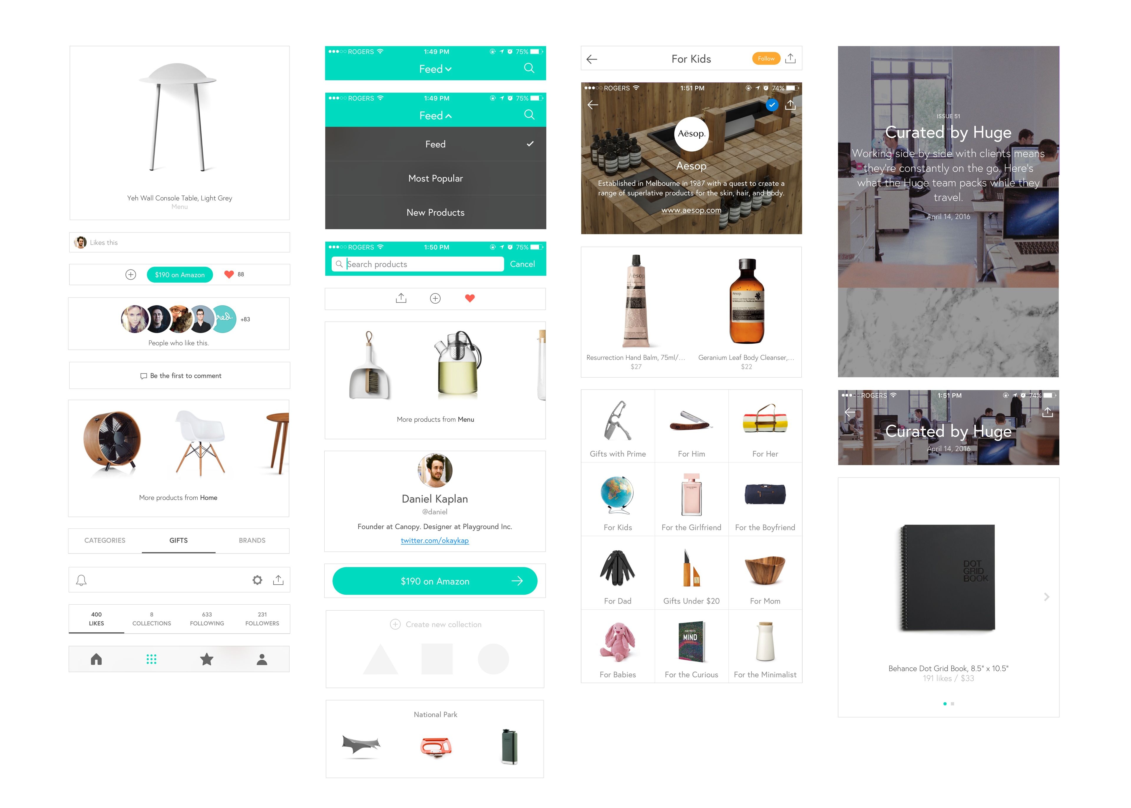 A collection of screenshots from the retail shopping app Canopy. The UI for the product, brand and partner page + various design elements from the app experience.