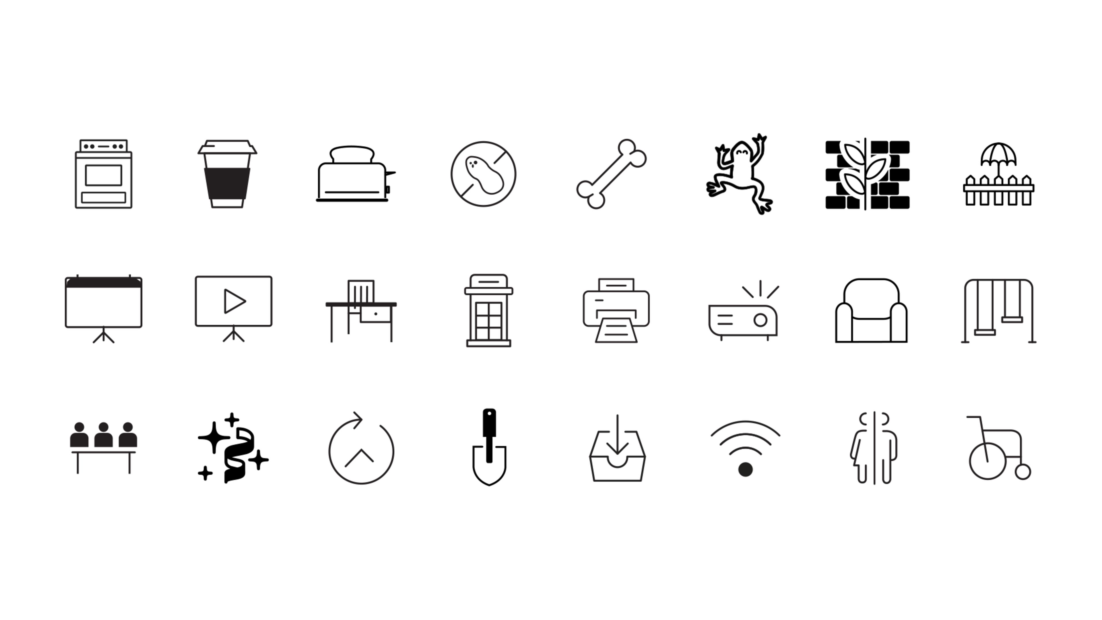 all of the custom icons created for the CSI website. Everything from a plant wall, wifi to rooftop terence had an icon.