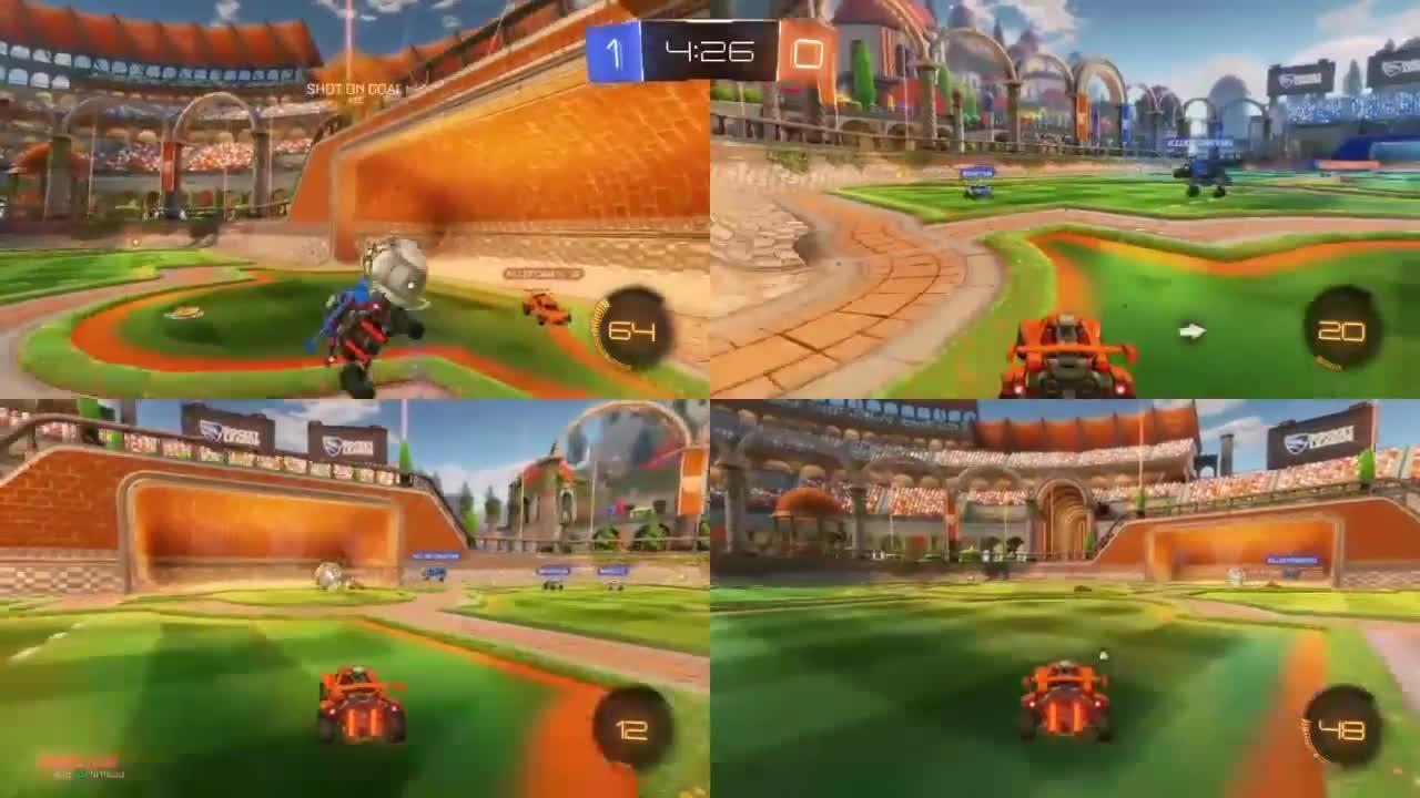 Rocket League 4 игрока на одном экране