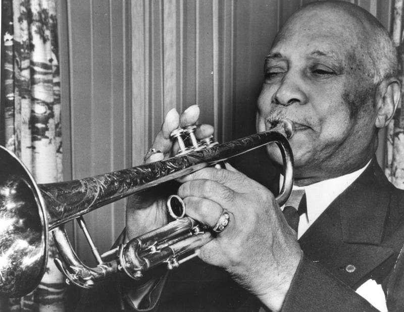 W.C. Handy, father of the blues, playing the trumpet