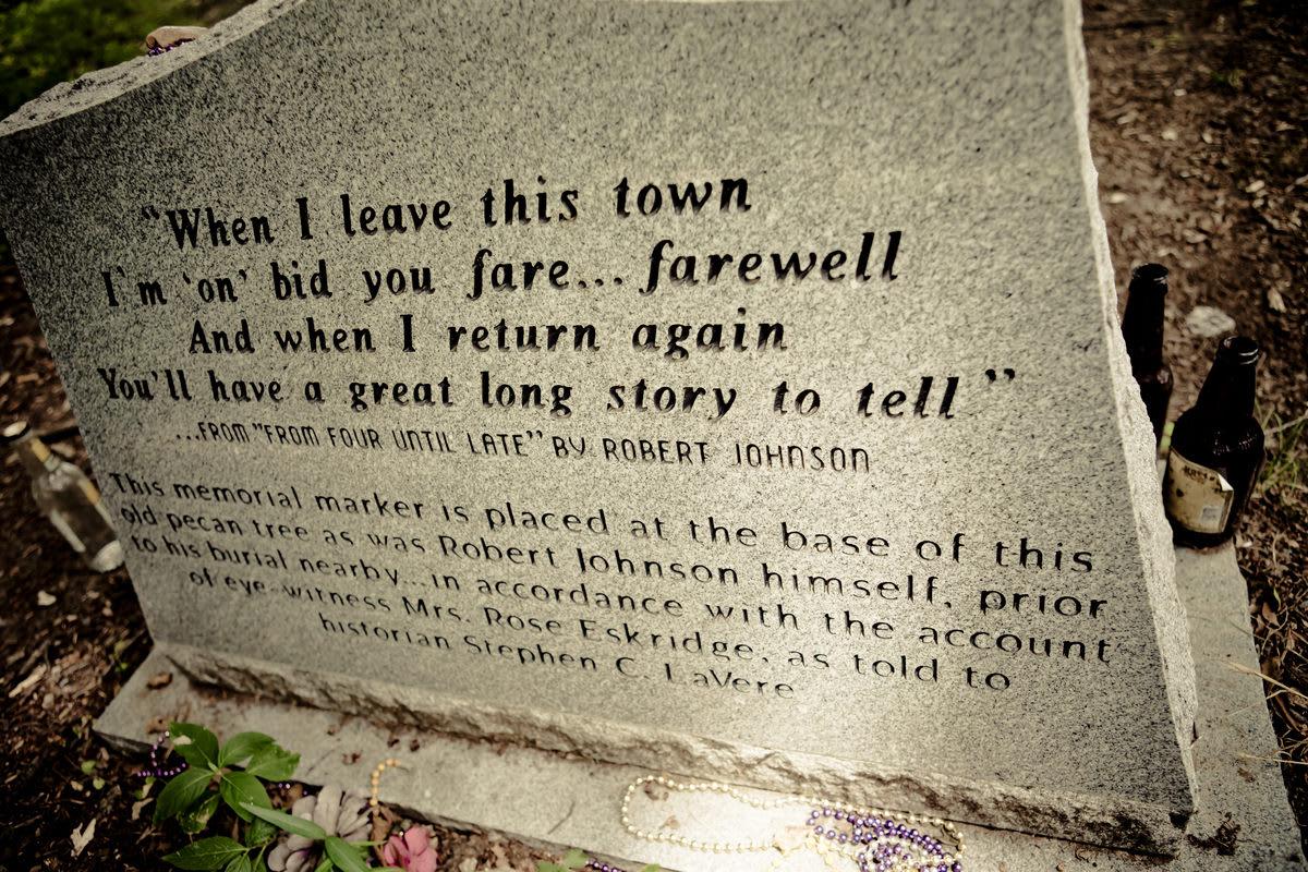 The rear face of bluesman Robert Johnson's tombstone