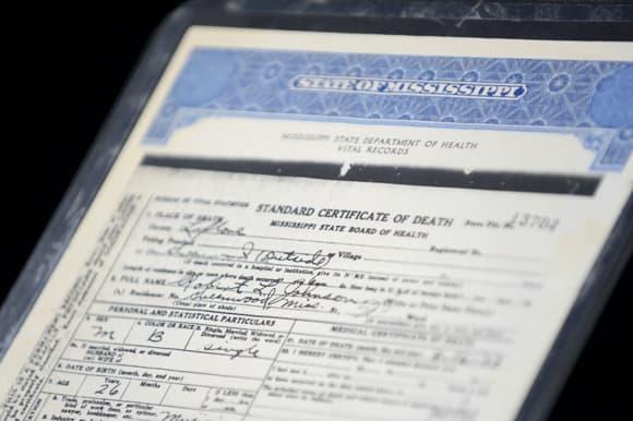 Robert Johnson's death certificate