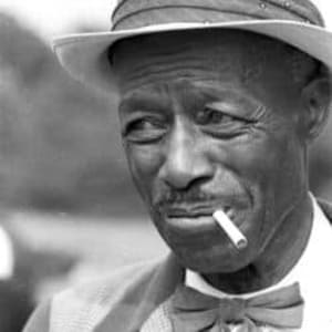 A portrait photo of the great delta bluesman, Son House, during the 1960s most likely