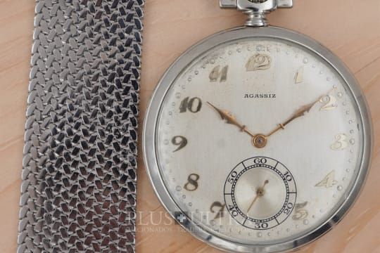 Agassiz White Gold Pocket Watch with Breguet Numerals & Gay Freres Chatelaine