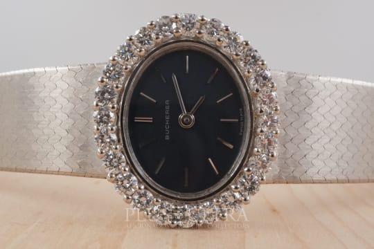 Bucherer White Gold 1.4 Carat Diamonds Ladies Ellipse, 1981 Full Set
