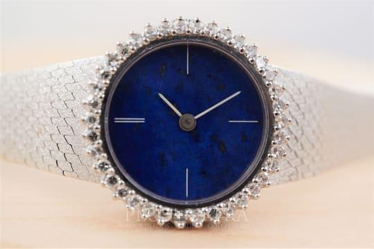 Bulova White Gold Lapis Lazuli-Dial Diamonds Ladies Jewel