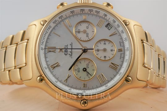 Ebel Massive Yellow Gold 1911 Chronograph, Mother-of-Pearl Dial, Full Set