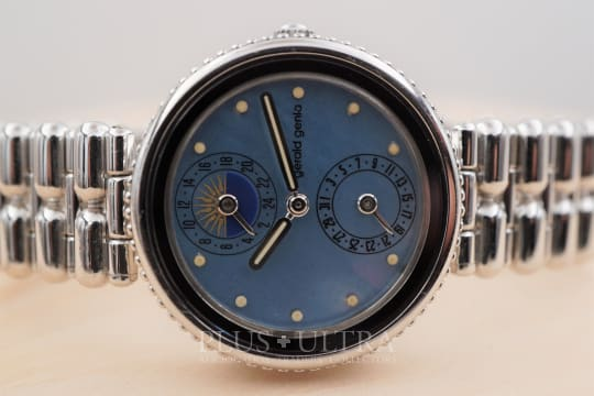 Gerald Genta White Gold Ladies Gefica with Mother of Pearl Dial, Date & GMT