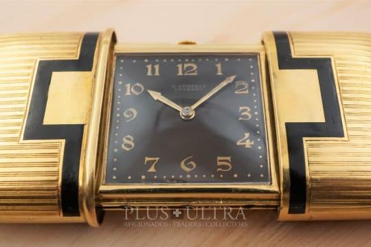 Gubelin Vintage Enamel Decorated Massive 18K Gold Ermeto