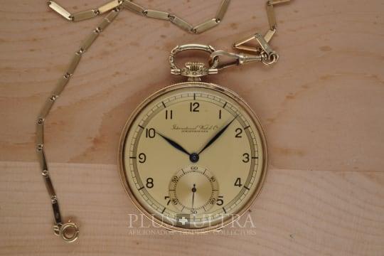 IWC Art Deco Open Face Pocket Watch, Chain