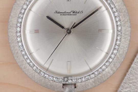 IWC White Gold Dress / Pocket Watch with Diamonds & Knob