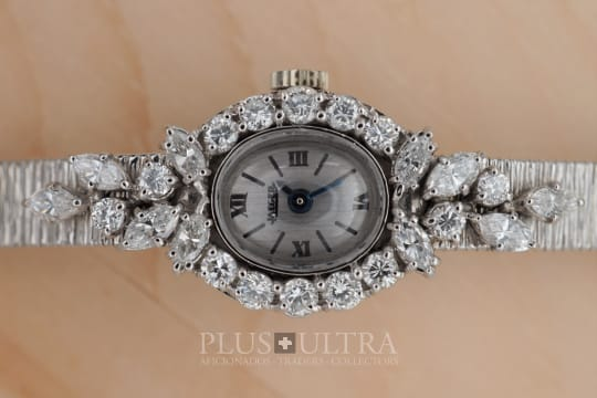 Jaeger LeCoultre Feminine Vintage White Gold Diamond Set Ladies JLC