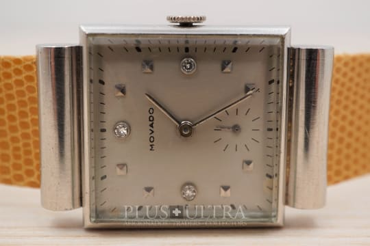 Movado 1930s Platinum Tank / Gondolo with Hooded Lugs and Diamonds