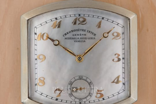 Notz Freres & Inter Watch Co. 18K White Gold Tonneau Chronometre Pocket Watch, MoP Dial, DoubleSigned: Missiaglia Venezia
