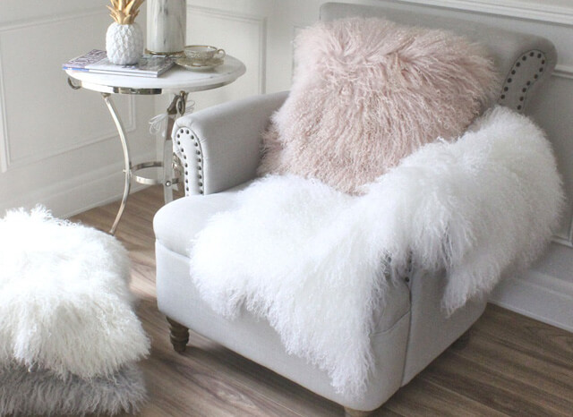 Tibetan Mongolian Fur Cushion Pink