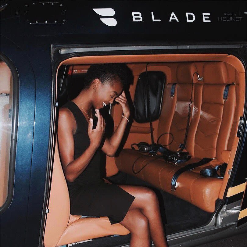 Blade black woman helicopter pose