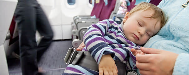 Mom and baby travelling on an airplane