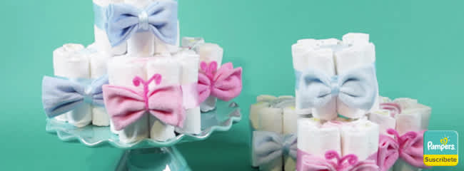 Mini Tortas de Pañales para Baby Shower