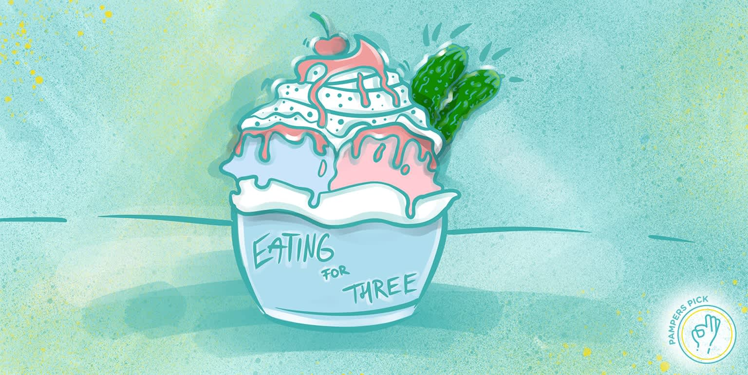 'Eating for three' pregnancy announcement