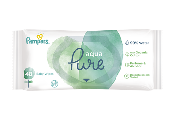 Pampers® Aqua Pure Wipes med hensynsfullt innhold
