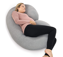 C-Shaped Full-Body Pregnancy Pillow with Jersey Cover
