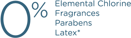 0% Elemental Chlorine Fragrances Parabens Latex
